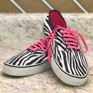 Vans Authentic Zebra & Neon Pink